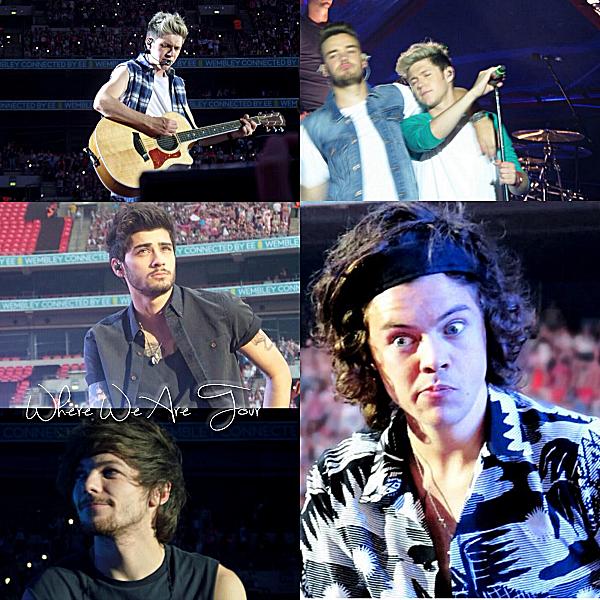 08.06- Les One Direction interprétant leurs vingt-unième concert pour tournée le Where We Are Tour au stade Wembley à Londres.