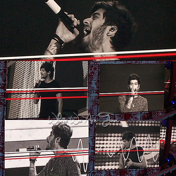 21.06 - Les One Direction interprétant leurs vingt-sixième concert pour tournée le Where Are Tour au stade de France à Paris.