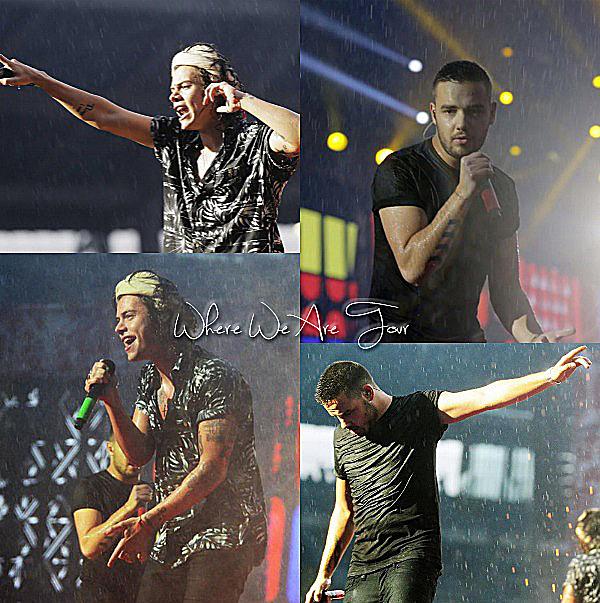 06.07 - Les One Direction interprétant leurs trente-quatrième concert pour tournée le Where Are Tour au stade de Olimpique à Turin en Italie.