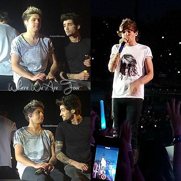 08.07 - Les One Direction interprétant leurs trente-cinquième concert pour tournée le Where Are Tour au stade de Barcelone en Espagne.