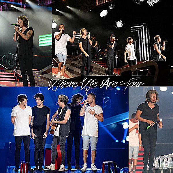 04.08 - Les One Direction interprétant leurs quarante et unième concert pour tournée le Where Are Tour au stade de Metlife dans le New Jersey.