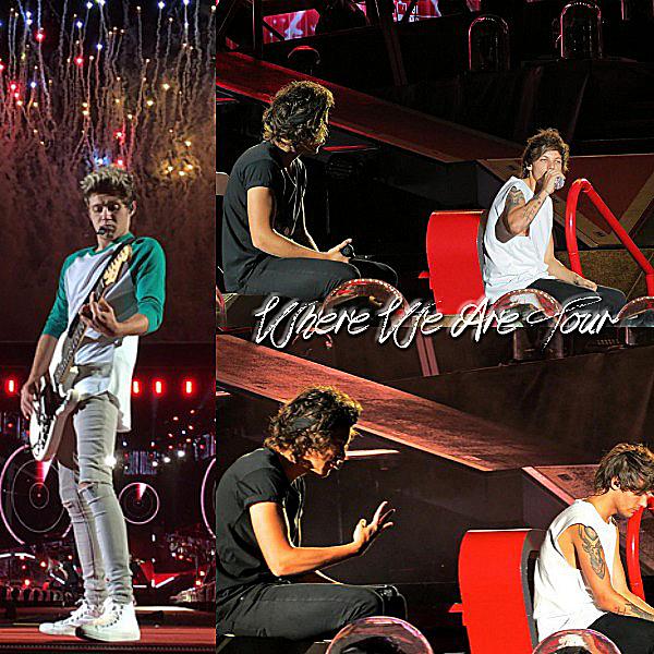 07.08 - Les One Direction interprétant leurs quarante-troisième concert pour tournée le Where Are Tour au stade de Gillette à Boston.