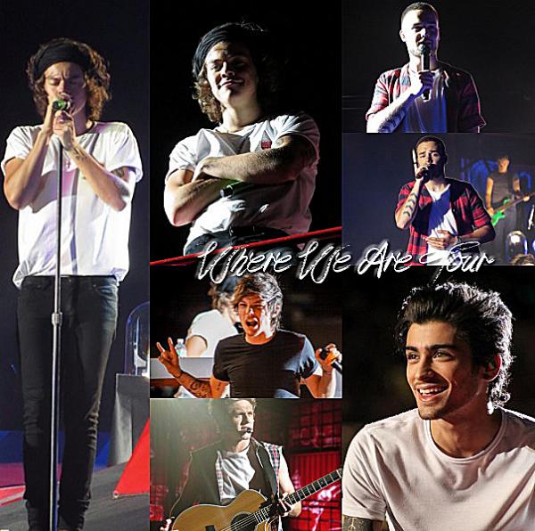 08.08 - Les One Direction interprétant leurs quarante-quatrième concert pour tournée le Where Are Tour au stade de Gillette à Boston.