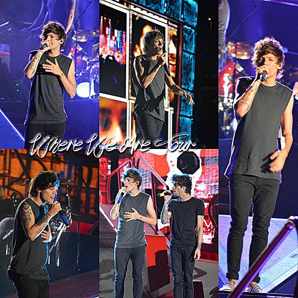 13.08 - Les One Direction interprétant leurs quarante-sixième concert pour tournée le Where Are Tour au stade de Lincoln National Field à Philadelphia.