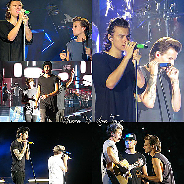 29.08 - Les One Direction interprétant leurs cinquante troisième concert pour la tournée Where We Are au stade à Chicago.