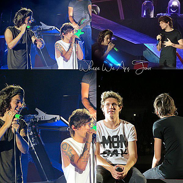 30.08 - Les One Direction interprétant leurs cinquante quatrième concert pour la tournée Where We Are au stade à Chicago.