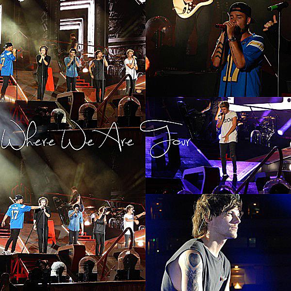 13.09 - Les One Direction interprétant leurs cinquante septième concert pour la tournée Where We Are au stade de Rose Bowl à Pasadena en Californie.