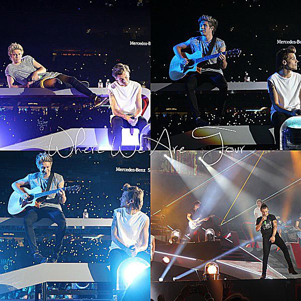 25.09 - les One Direction interprétant leurs soixante-deuxième concert pour la tournée Where We Are au stade de Mercedes-ben superdome en NZ.