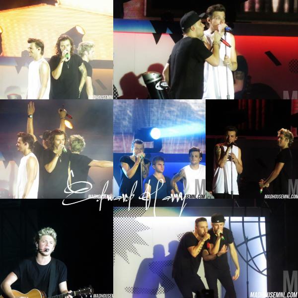 22.03 - Les One Direction interprétant leurs dix-huitième concert pour tournée le On The Road Again à Manille en Philippines.
