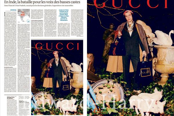 """Harry pour une campagne Gucci pour le magazine """" le monde. """" :"""