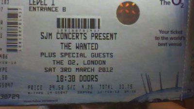 Mon ticket pour le concert de THE WANTED le 3 mars :DD (l)