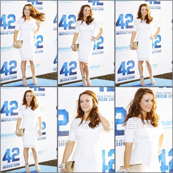-    09/04/2013 : Alyssa à la première du film 42 qui se déroulait à Los Angeles.  -
