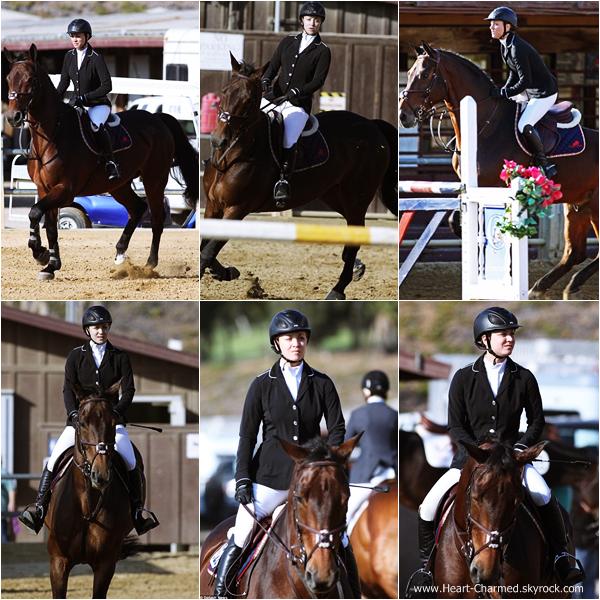 -    14/10/2013 : Kaley faisant une compétition d'équitation à Santa Barbara.  -