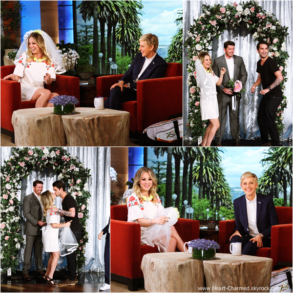 -    07/11/2013 : Kaley et son fiancé Ryan Sweeting sur le plateau de l'émission The Ellen DeGeneres Show à Los Angeles.  -