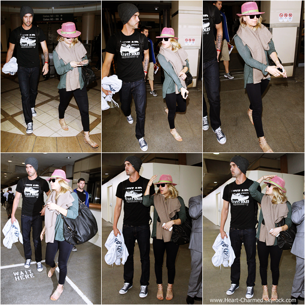 -    03/12/2013 : Kaley et son fiancé Ryan Sweeting arrivant à l'aéroport LAX de Los Angeles.  -