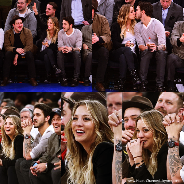 -    24/02/2014 : Kaley et son mari Ryan Sweeting assistant à un match de basket à New-York.  -
