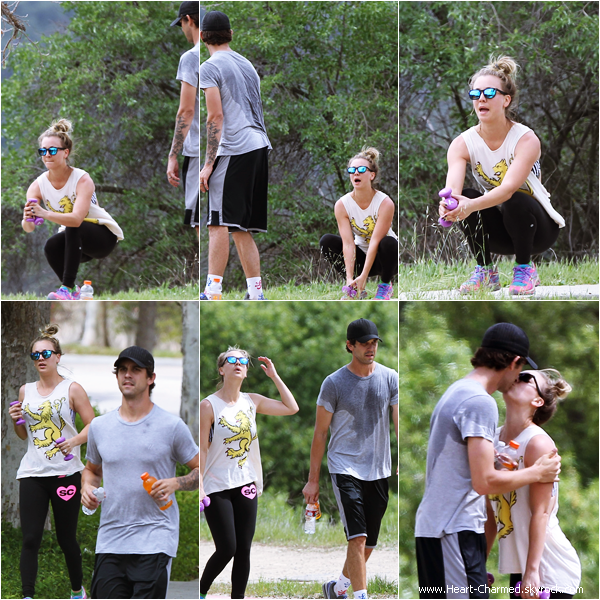 -    12/04/2014 : Kaley et son mari Ryan Sweeting faisant un footing dans les rues de Los Angeles.  -