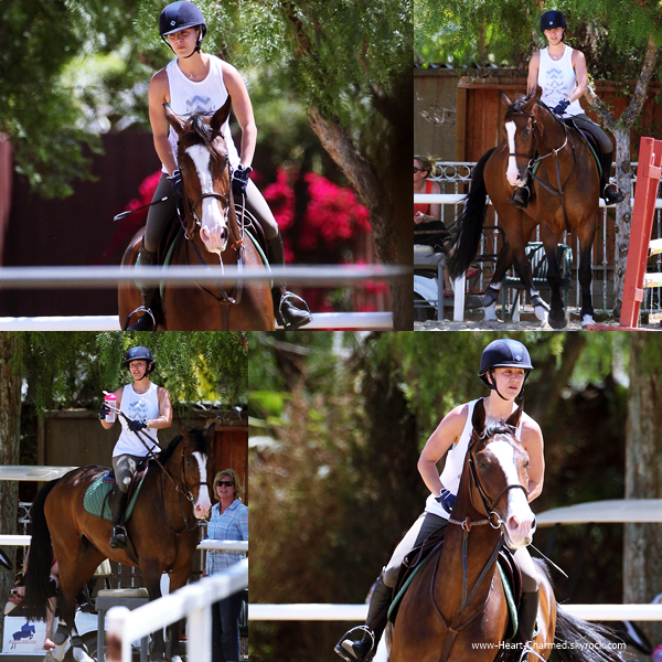-    14/05/2014 : Kaley faisant de l'équitation à Los Angeles.  -