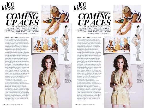 -    Marie-Claire Magazine : Découvrez Alyssa dans le magazine Marie-Claire de Février 2015.  -