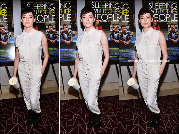 -    24/08/2015 : Rose assistant à la projection du film Sleeping With Other People à Los Angeles.  -