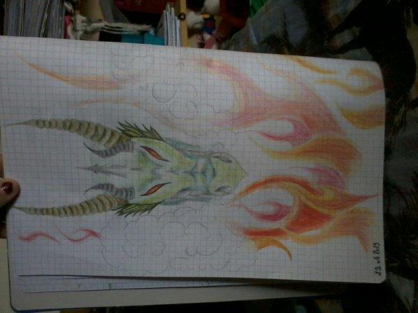 dragon et flammes