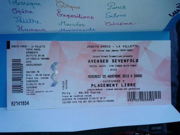 Avenged Sevenfold le 20 Novembre 2013 au Zenith je serait devant eux !!! Ma RELIGION