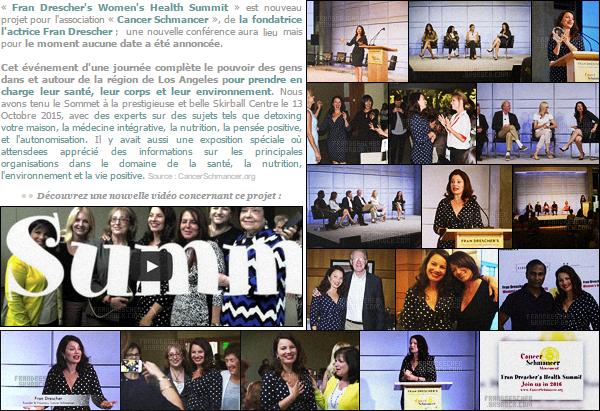 - ● Découvrez des nouvelle photos de Fran Drescher lors du « Women's Health Summit ». «Fran Drescher's Women's Health Summit» est un projet mit en place par notre belle pour son association «Cancer Schmancer». Edition 13 octobre -