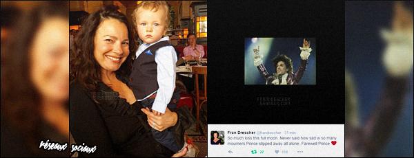 - ● Fran Drescher a réagit elle aussi à la mort du chanteur Prince sur les réseaux sociaux Le chanteur Prince a été retrouvé mort dans ses studios d'enregistrement de Paisley Park près de sa ville natale de Minneapolis, ce jeudi à 57 ans. -