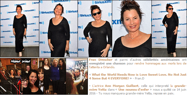- 16/06/16 : Fran Drescher était l'invitée de « SiriusXm radio » où elle a parlé de son projet, déroulé à New York City. La brunette a parlé de sa croisière pour son association Cancer Schmancer, qui se déroulera le 20 juin, également de parlé de Ann Morgan Guilbert. -