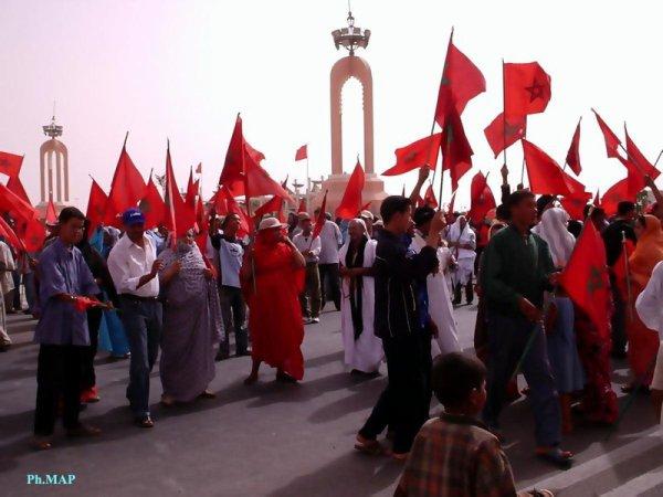 صورة للمشاركين في مظاهرات مقابل مبالغ مالية في العيون المحتلة