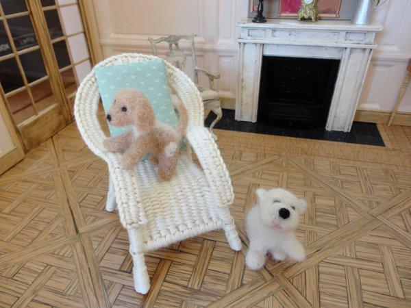 Petits chiens en laine cardée
