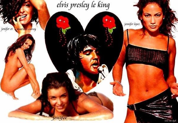 une créa de moi du king avec jenifer et jennifer lopez et mariah carey j adore tout c es femme la et le king je suis fan et bonne visite sur mon blog merci a tous