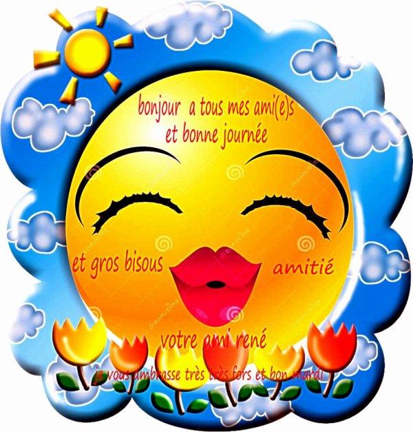 pour vous tous mes ami(e)s  et bonne journée votre ami rené qui vous adore amitié et merci pour les commentaire et les kiffe et bonne visite sur mon blog a bien taux mes ami(e)s bisous et merci a tous les autre personne qui passe sur mon blog votre ami rené