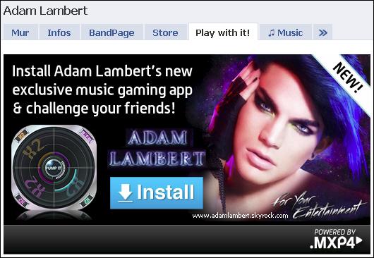 Sur facebook ... Adam lambert ... Nouveau jeu :O