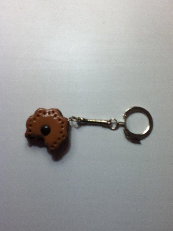 Porte clés biscuit fleur choco croqué