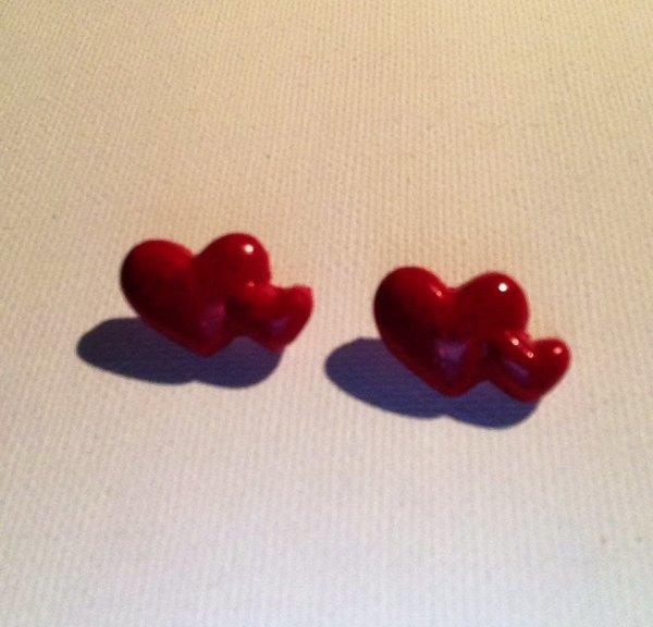 Boucles d'oreilles puces c½urs ( Flavie )