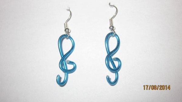 Boucles d'oreilles clés de sol ( Clémence )