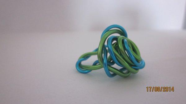 Bague turquoise et verte façon rose (Clémence)