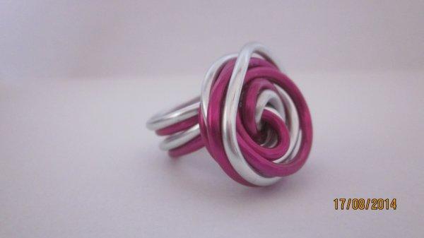 Bague rose et argentée façon rose (Clémence)