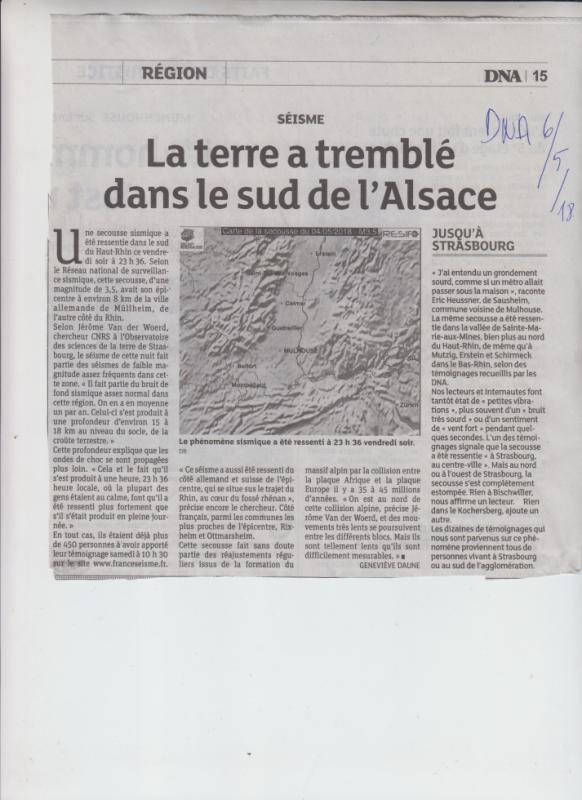 Aucune info chez nous sur ce seisme...C'est mon amie Josy du Loir et Cher qui me l'a appris hier....Les DNA toujours à la pointe de l' info!!!