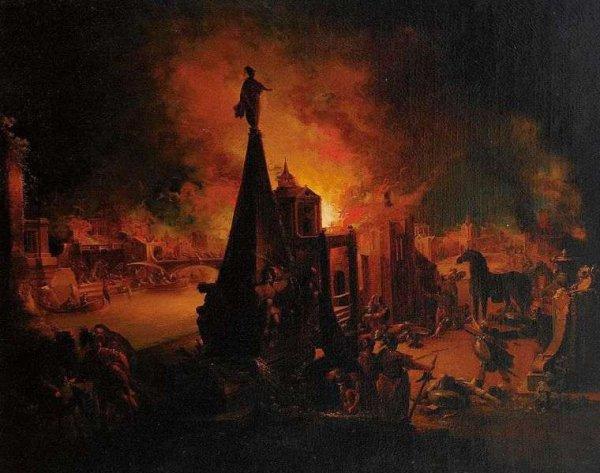 L'incendie de Troie selon Johann Georg Trautmann
