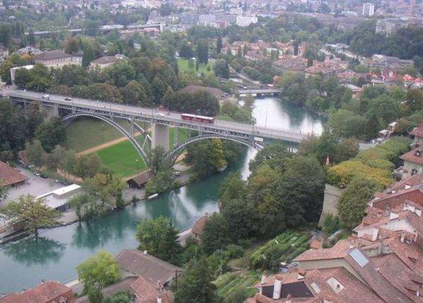 Berne, capitale du canton de Berne en Suisse, traversée par l'Aar