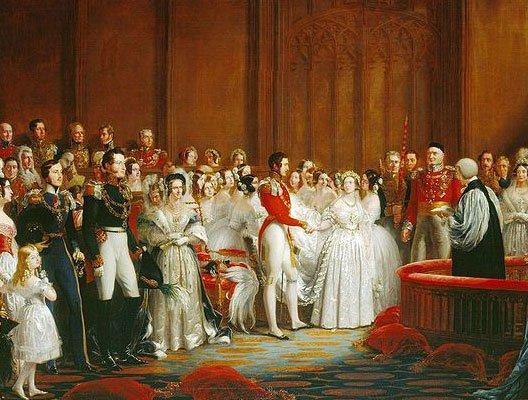 Mariage de    Victoria et Albert à Westminster le 10 février 1840 (peinture de George Hayter en Angleterre         )