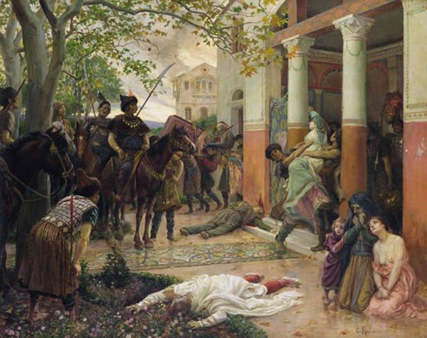 Pillage d'une villa Gallo romaine par les Tartares peintre :Georges Antoine Rochegrosse (French, 1859–1938)