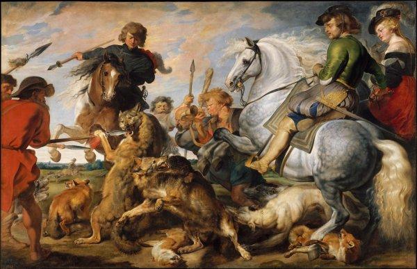la chasse aux loups et aux renards de Pierre Paul Rubens « Peintre flamand, né à Siegen, près de Cologne, le 28 juin 1577 mort à Anvers le 30 mai 1640. Bravo : patou - papi - nono - josy - dany -
