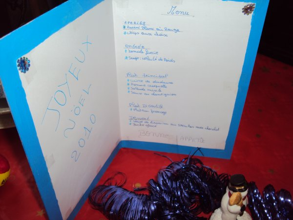 le menu du 24/12/2010