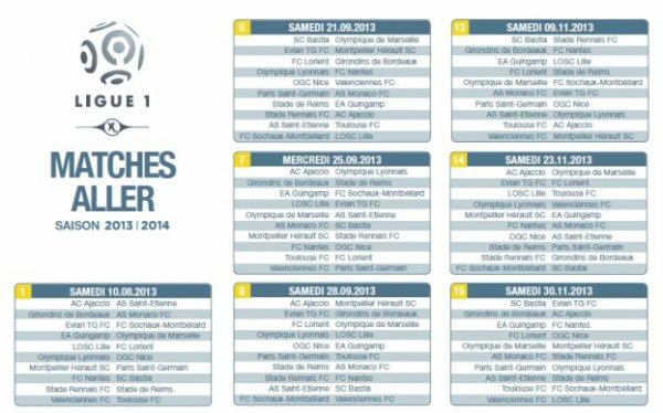 voici le calendrier des match de ligue 1 aller