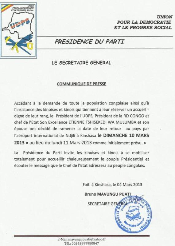 Mobilisation générale pour accueillir le retour du président Tshisekedi à Kinshasa ce 10 mars 2013