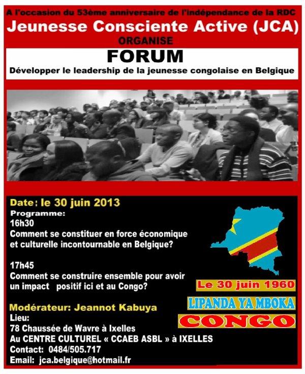 Le 30 juin 2013 Forum de la Jeunesse à Bruxelles sous le thème:Développer le leadership de la jeunesse congolaise en Belgique
