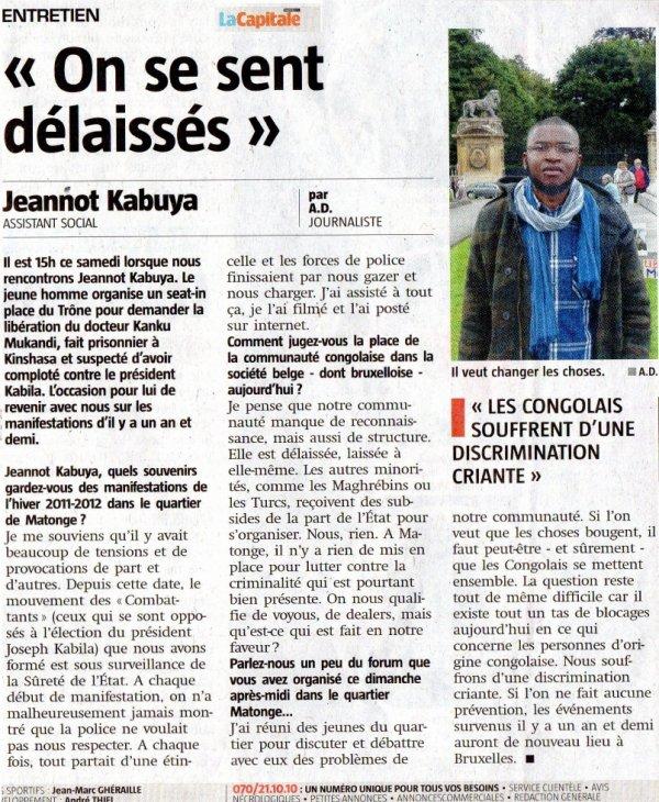 """La Jeunesse Consciente Active """"Musala ebandi"""" retrouvez mon interview dans le journal LA CAPITALE de ce lundi 1 juillet 2013."""